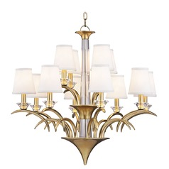 Hudson Valley Marcellus 2-Tier 12-Light Chandelier in Aged Brass