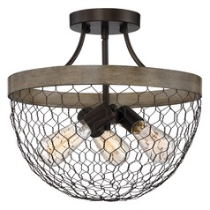 Farmhouse Light Chicken Wire Semi Flush Ceiling Light by Quoizel Lighting