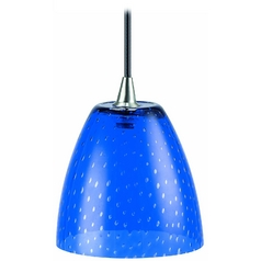 Modern Low Voltage Mini-Pendant Light with Blue Glass