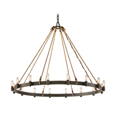 Nautical Wall Sconce With Rope Accents In Bronze Finish