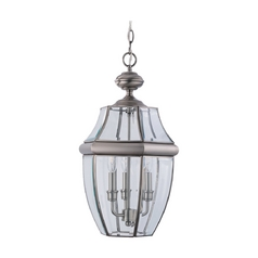 Outdoor Hanging Light with Clear Glass in Antique Brushed Nickel Finish