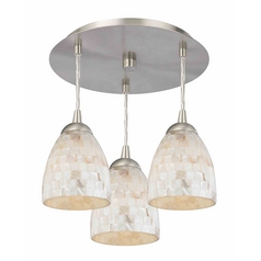 3-Light Semi-Flush Light with Mosaic Bell Glass - Nickel Finish
