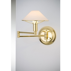 Holtkoetter Modern Swing Arm Lamp with White Glass in Polished Brass Finish