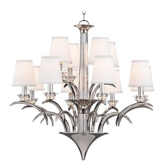 Hudson Valley Marcellus 2-Tier 12-Light Chandelier in Polished Nickel