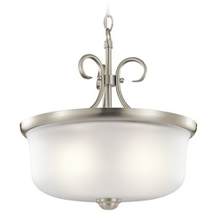 Kichler Lighting Bixler Brushed Nickel Pendant Light with Drum Shade