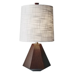 Adesso Home Grayson Walnut Birch Wood Table Lamp with Cylindrical Shade