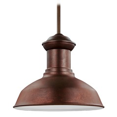 Sea Gull Lighting Fredricksburg Weathered Copper LED Outdoor Hanging Light