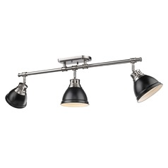 Golden Lighting Duncan Pewter Track Light Kit with Matte Black Shade