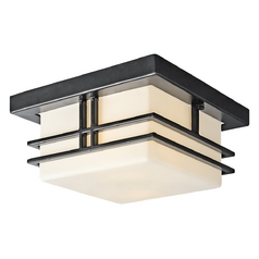 Kichler Modern Close To Ceiling Light with White Glass in Black Finish