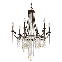 Vintage Bronze Crystal Chandelier Light with Cascading Crystals