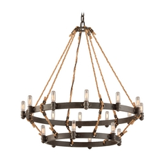 Nautical Style Pendant Light in Bronze Finish with 18 Lights