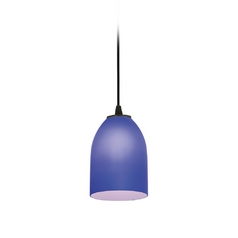 Modern Mini-Pendant Light with Blue Glass