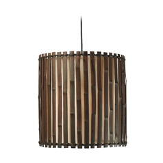 Drum Pendant Light with Brown Tones Bamboo Shade in Dark Split Bamboo Finish