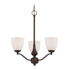 Chandelier with White Glass in Prairie Bronze Finish