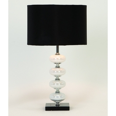 Table Lamp with Black Shade in Black, White Finish