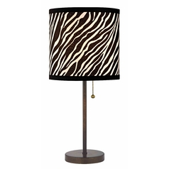 Bronze Pull-Chain Table Lamp with Zebra Drum Shade