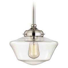 10-Inch Polished Nickel Clear Glass Schoolhouse Mini-Pendant Light