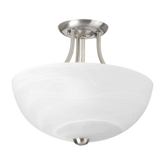 Progress Lighting Modern Pendant Light with Alabaster Glass in Brushed Nickel Finish P3425-09WB