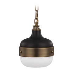Mid-Century Modern Mini-Pendant Light Brass / Black Cadence by Feiss Lighting