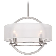 Quoizel Portland Brushed Nickel Pendant Light with Drum Shade