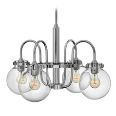 Hinkley Congress 4-Light Chandelier with Clear Globe Glass in Chrome