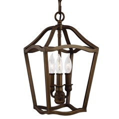 Feiss Lighting Yarmouth Painted Aged Brass Mini-Pendant Light
