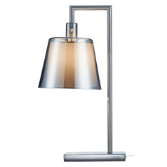 Adesso Home Prescott Brushed Steel Table Lamp with Empire Shade