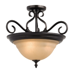 Semi-Flushmount Light with Beige / Cream Glass in Kentucky Bronze Finish