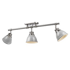 Golden Lighting Duncan Pewter Track Light Kit with Grey Shade