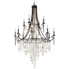 Crystal Chandelier in Bronze Finish with Cascading Beads