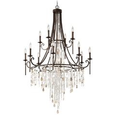 Crystal chandeliers crystal light fixtures destination lighting feiss 12 light crystal chandelier in bronze aloadofball Images