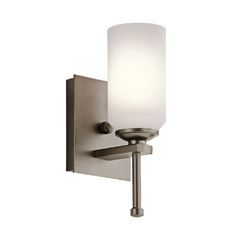 Kichler Sconce Wall Light with White Glass in Shadow Bronze Finish