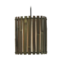 Mini-Pendant Light with Brown Bamboo Shade