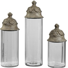 Uttermost Acorn Glass Cylinder Canisters, Set/3