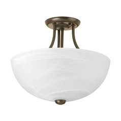 Progress Lighting Modern Pendant Light with Alabaster Glass in Antique Bronze Finish P3425-20WB