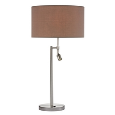 Modern Swing Arm Lamp with Taupe Shades in Satin Nickel Finish
