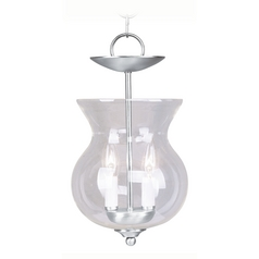 Livex Lighting Brushed Nickel Mini-Pendant Light with Bowl / Dome Shade