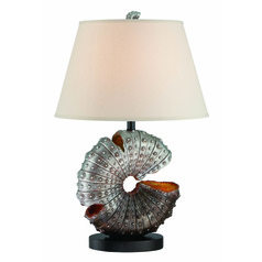 Lite Source Nautilus Aged Silver Sea Shell Table Lamp with Empire Shade