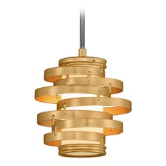 Corbett Lighting Vertigo Gold Leaf LED Mini-Pendant Light with Cylindrical Shade