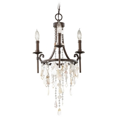 Vintage Inspired Mini-Chandelier Light with Cascading Crystal Beading