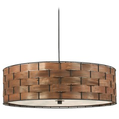 Modern Drum Pendant Light in Dark Woven Wood Finish