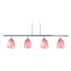 Modern Island Light with Pink Glass in Chrome Finish