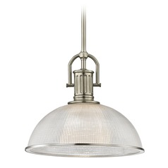 Industrial Farmhouse Prismatic Pendant Light Satin Nickel 13.13-Inch Wide