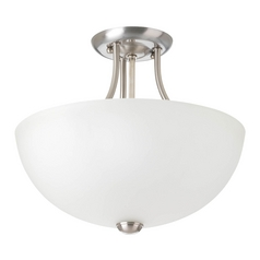 Progress Lighting Modern Pendant Light with White Glass in Brushed Nickel Finish P3426-09WB