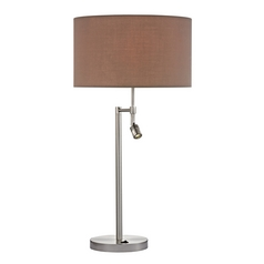 Modern LED Swing Arm Lamp with Taupe Shades in Satin Nickel Finish