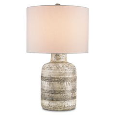 Currey and Company Lighting Paolo Wash White Table Lamp with Drum Shade