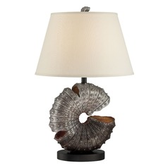 Lite Source Nautilus Aged Silver Table Lamp with Empire Shade