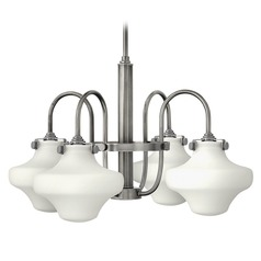 Hinkley Congress 4-Light Chandelier with White Urn Glass in Antique Nickel