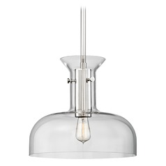 Hudson Valley Lighting Coffey Polished Nickel Pendant Light with Coolie Shade