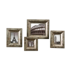 Set of Four Distressed Finish Decorative Photo Frames